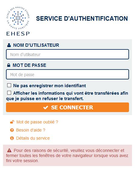 Service d'authentification EHESP (SSO)